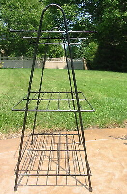 Vtg Wrought Iron Metal Hairpin Leg Shelf Plant Stand 3 Tier Organizing End Table