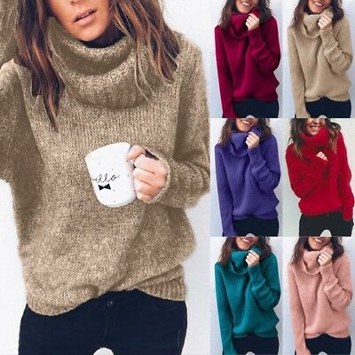Fashion Women Loose Turtleneck Knitted Sweater Jumper Lady Pullover Tops Blouse