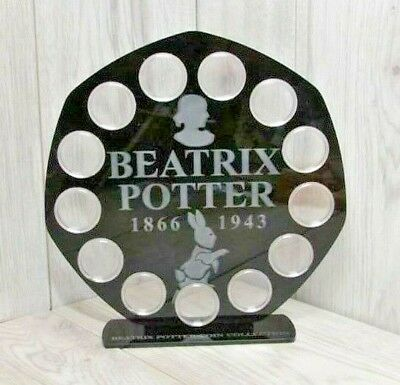Beatrix Potter 50p 13 Coin Display Stand Case Royal Mint 2018 Black Finish