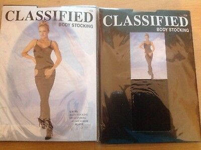 BLACK SHEER body stocking WITH STUD  OPENING ONE SIZE STRETCH BNWT