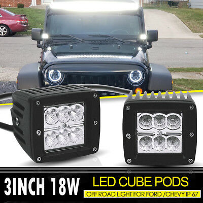 2PCS 3x3Inch 18W LED Flood Beam Cube Pods Fog Work Lights For Off Road UTE Jeep
