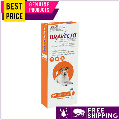 Bravecto Spot On for Small Dogs 4.5 to 10 Kg Orange 1 Dose Tick Flea Control