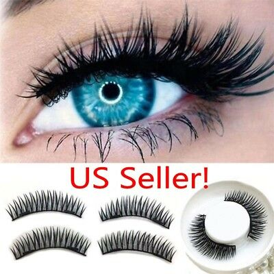 Triple Magnetic 3D Eyelashes Handmade Reusable False Magnet Full Eye Lashes US