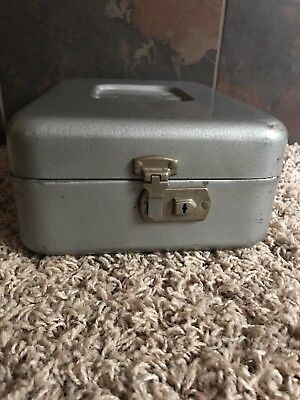 Vintage Industrial Security Lock Metal Box Silver Gray Key Old School Retro