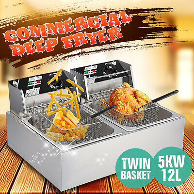 5000W 5KW Chef Electric Commercial Deep Fryer Twin Frying Basket Chip Cooker