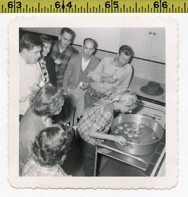 Vintage 1952 photo / BOBBING for APPLES at Halloween Party - Weird Biting Ritual