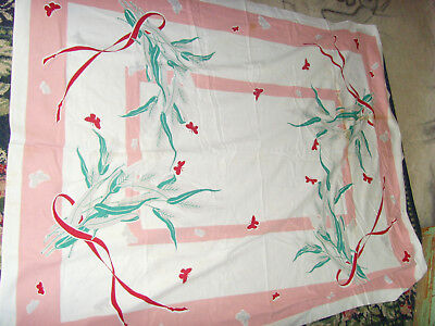 Pink kitchen chic wheat and butterfly farmhouse ribbons tablecloth vintage 52x68