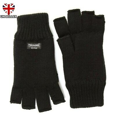 Black Knitted 3M Thinsulate Thermal Winter Fingerless Gloves M/L L/Xl Uk Seller