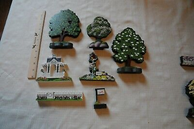 Sheila's Collectibles Extras - 3 Trees, Arbor, Fence, Birdhouse,  For Sale Sign