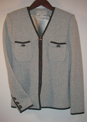 St JOHN Collection Marie Gray Blue Tweed Santana Knit Zip Front Jacket Sz 2