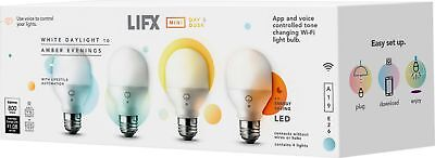 LIFX - Mini 800-Lumen, 9W Dimmable A19 LED Light Bulb, 60W Equivalent (4-Pack...