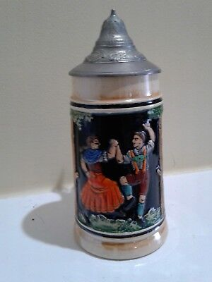 Vintage beautiful Beer Stein Pewter Lid with Germany marking