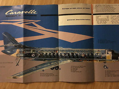 Air France Airlines Caravelle Promo Intro Brochure Folder  1958 Cutaway