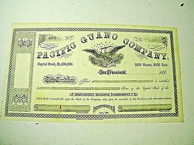 Vintage Stock Certificate, Pacific Guano Co, 1860s