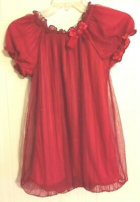 GEORGE Girls Red Sparkle Balloon Hem Dress Party Wedding Christmas Size L 10/12