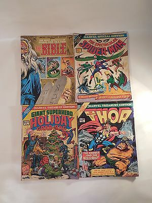 Four Large Comic Books Bible Spiderman Holiday Grab Bag Thor DC Marvel 1970s