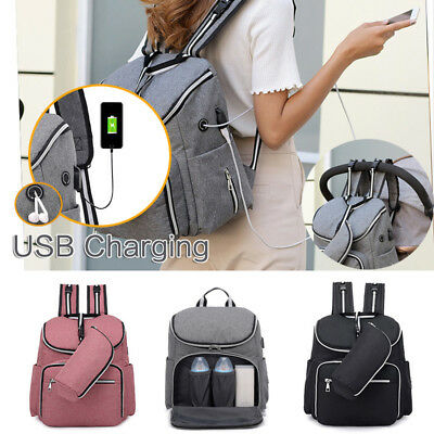 Baby Waterproof Diaper Bag Mummy Nappy Nursing Travel Backpack with USB Charging
