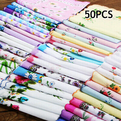AU 50Pcs Various Hankies Lady Women Cotton Floral Flower Handkerchiefs 28X28CM