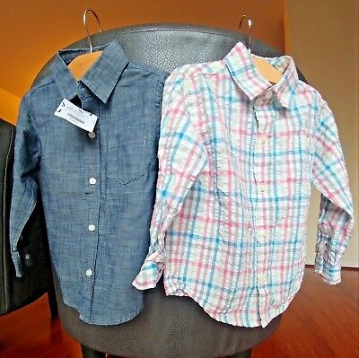 2 Janie and Jack Toddler Boys button down Plaid Shirt Blue Top 18-24 months 2T