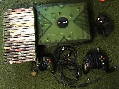 ORIGINAL CRYSTAL GREEN Xbox Console +20 Games Bundle Doa3 Gtaiii Driv3R  Halo 2 +