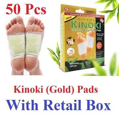 50 Pcs Kinoki GOLD Premium Detox Foot Pads Organic Herbal Cleansing+Retail Box