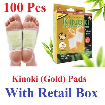 100 Pcs Kinoki GOLD Premium Detox Foot Pads Organic Herbal Cleansing+Retail Box