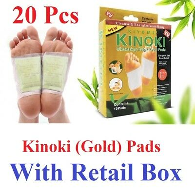 20 Pcs Kinoki GOLD Premium Detox Foot Pads Organic Herbal Cleansing w Retail Box