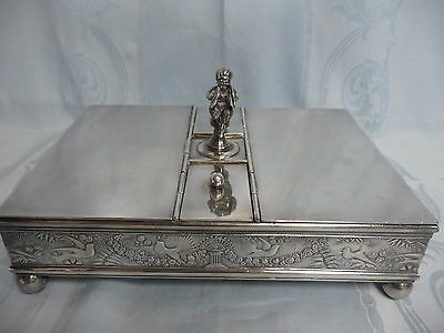 VICTORIAN MERIDEN SILVER PLATE DOUBLE SIDED CIGAR HUMIDOR w/CHILD & CYMBALS