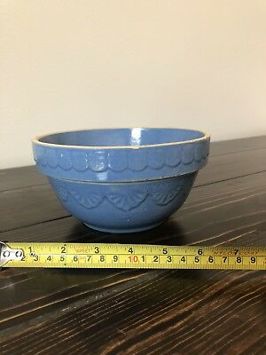 Vintage Early Blue Art Deco Design Bowl Stoneware Pottery Made in USA Stamped 7""