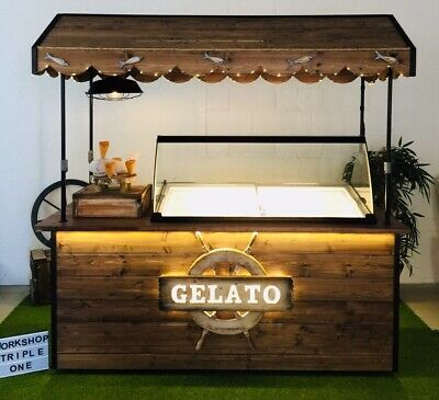 Mobile Gelato/Ice Cream Cart Freezer Display and Fully Enclosed Trailer Package