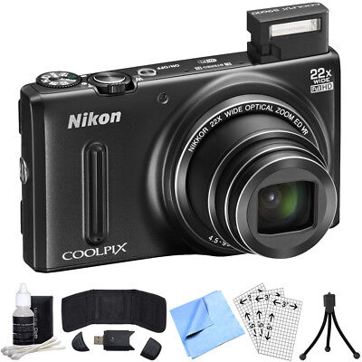 Nikon COOLPIX S9600 16MP Digital Camera (Black) Refurbished Bundle