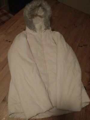 Gorgeous girls Puffa bubble jacket in cream age 13 by Peter Storm, fur trim