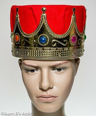 King Crown Gold Jeweled Plastic With Red Felt Crown Royal Costume Headpiece