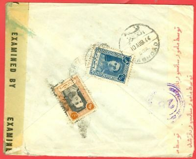 PERSIA 2diff stamp used on Cover Via BAGHDAD to USA 1944 Anglo Soviet Censor