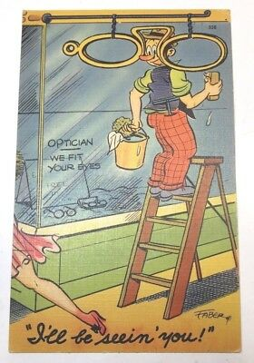 VINTAGE COMIC POSTCARD by artist FABER, OPTICIAN, LINEN, posted 1944
