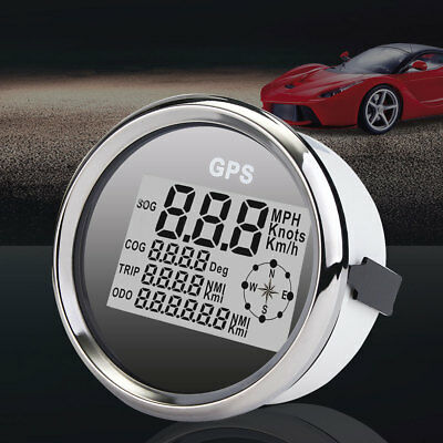 85mm GPS Compass Speedometer Odometer Gauge Digital White for Car Truck Motor