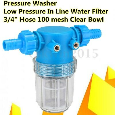 """Pressure Washer Water Filter In Line 3/4"""" 20mm Inlet Hose 100 Mesh Low Pressure"""