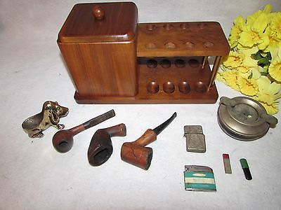 10 Pc Vtg Wooden 8 Pipe Rack Tobacco Box W Pipe Holder 3 Pipes Lighters Ashtray