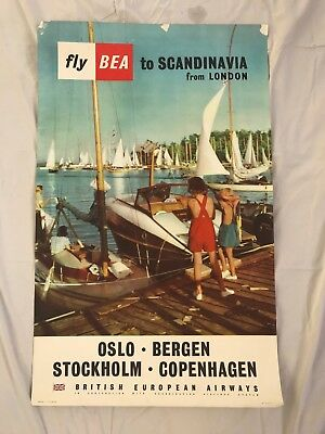 Authentic Vintage Original Airline Poster BEA Scandinavia from London Lithograph