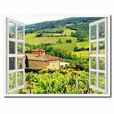 Wine Vineyards Tuscany Italy Picture French Window Framed Canvas Print Home Deco