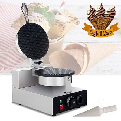 Electric Commercial Waffle Ice Cream Cone Egg Roll Maker Nonstick Baker Machine