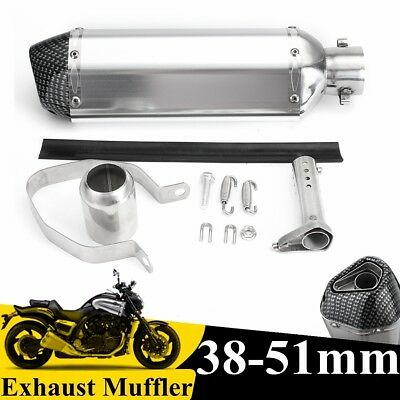51mm Universal Motorcycle Exhaust Muffler Pipe w/ Removable Silencer Dirt Bike