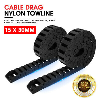 "Plastic Drag Chain 15 x 30mm 1M 40"" Towline Carrier Wire Cable CNC Machine Tool"