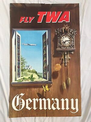 Original Vintage Authentic Airline Poster TWA Germany Lithograph
