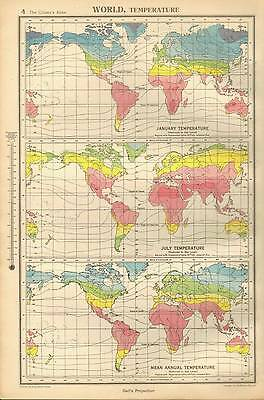 Antique Map 1947 Bartholomew World Temperature Gall's Projection
