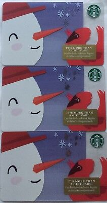 "Lot 3 Starbucks ""SNOWMAN"" 2018 Christmas 🎄 Edition gift card set NEW"