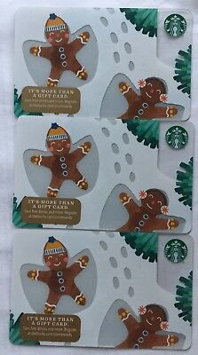 "Lot 3 Starbucks ""GINGERBREAD MAN"" 2018 Christmas 🎄 Edition gift card set NEW"