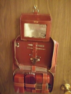Vintage 1932 Progressive Leather Vanity Set Mens Travel Accessories Grooming Kit