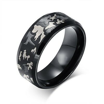 Size 6-14 Mens Titanium Steel Soldier Camo Ring Camouflage Ring Wedding Ring