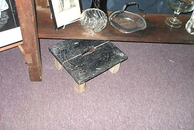 Rustic Small Square Bench Black Painted Time Worn Vintage Antique Farmhouse Chic